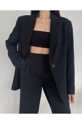 Jojua Kadın Siyah Palazzo Ceket Pantolon Takım