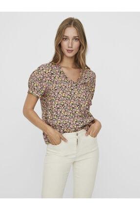 Vero Moda Kısa Kollu V Yaka Çiçekli Bluz T-shirt 10243865 Vmellıe
