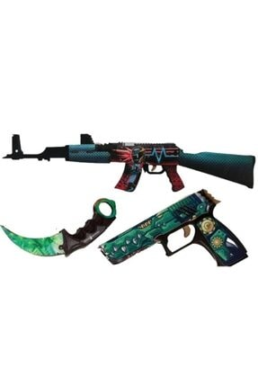 Hediyenealsak Ahşap Cs-go Ak-47 Tüfek P250 Tabanca Karambit Oyuncak Set