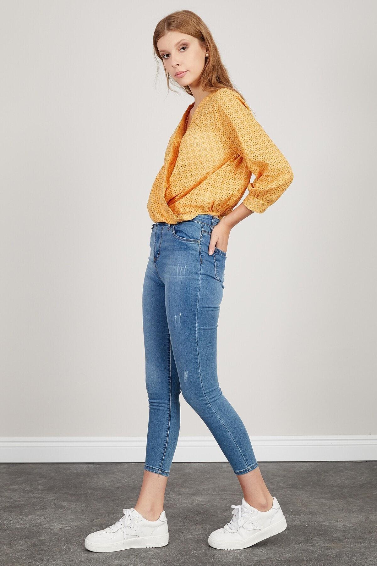 Manche Kadın Mavi Yüksek Bel Dar Paça Pantolon 2