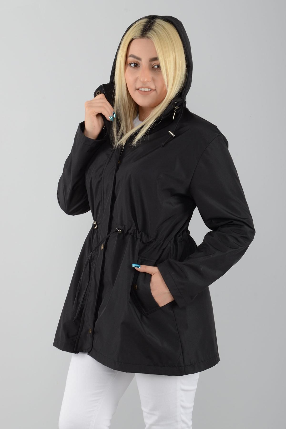 Tuva Tekstil Kadın Siyah Kapüşonlu Astarlı Trençkot 2