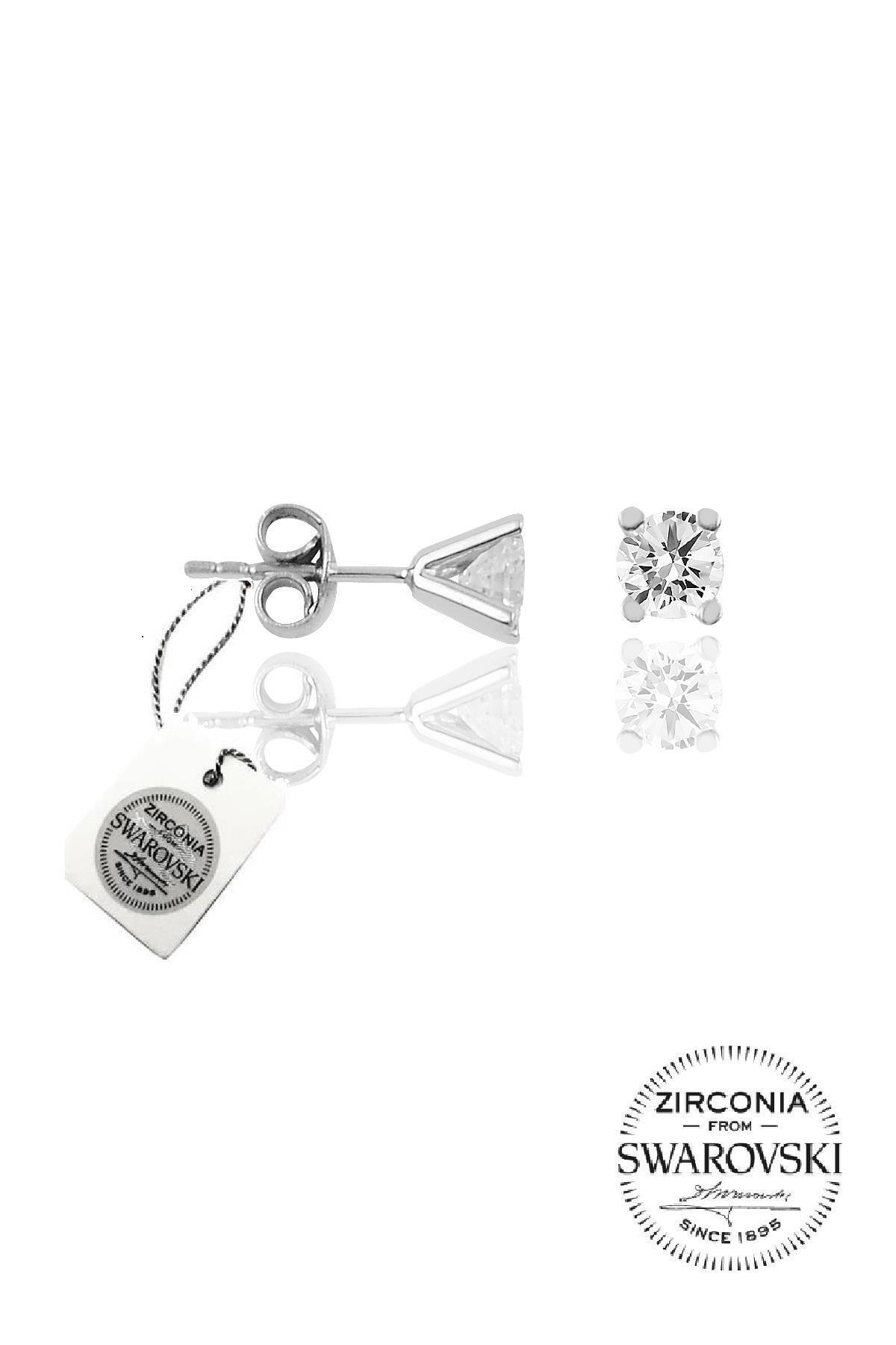 Söğütlü Silver Gümüş Tek Taş Küpe 1