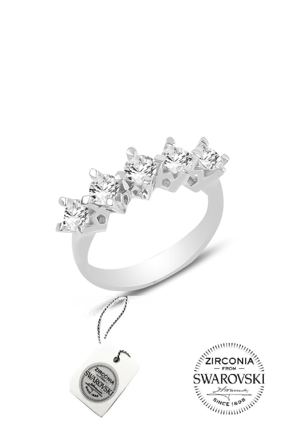 Söğütlü Silver Gümüş Beş Taşlı Çapraz Modeli Yüzük 1