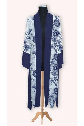 RAHAT YASLAN Lacivert Çiçek Desenli Kimono