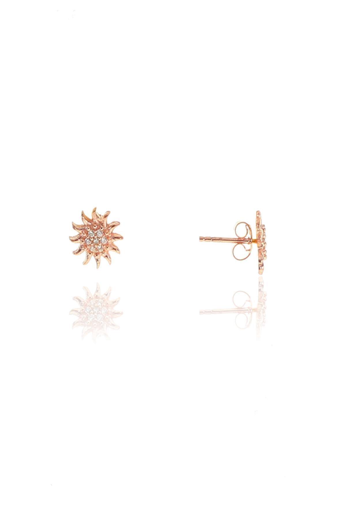 Söğütlü Silver Gümüş Rose Zirkon Güneş Küpe 2