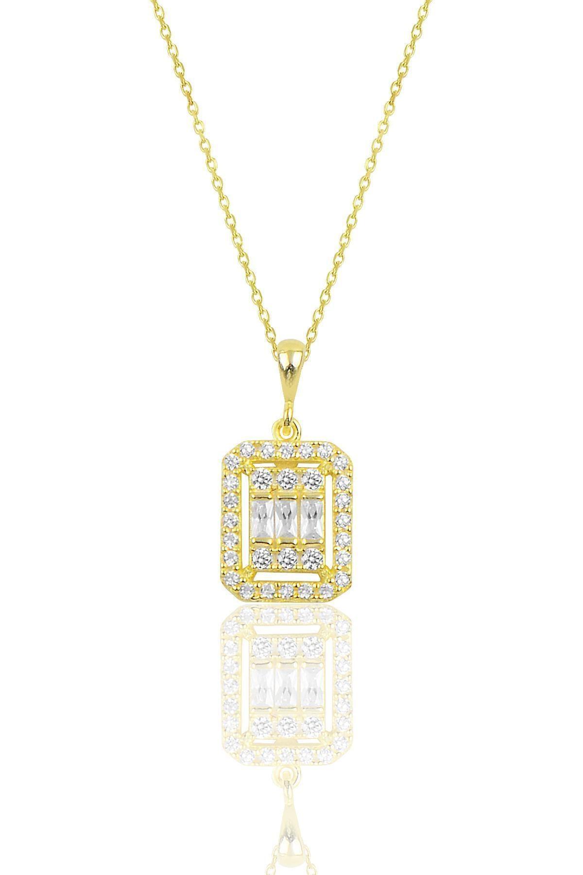 Söğütlü Silver Gümüş Altın Yaldızlı Baget Taşlı Kolye 1