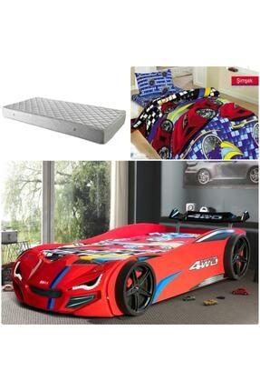 Setay Merso Eko Rüzgarlıklı Arabalı Yatak Kırmızı + Ortopedik Yatak + Nevresim