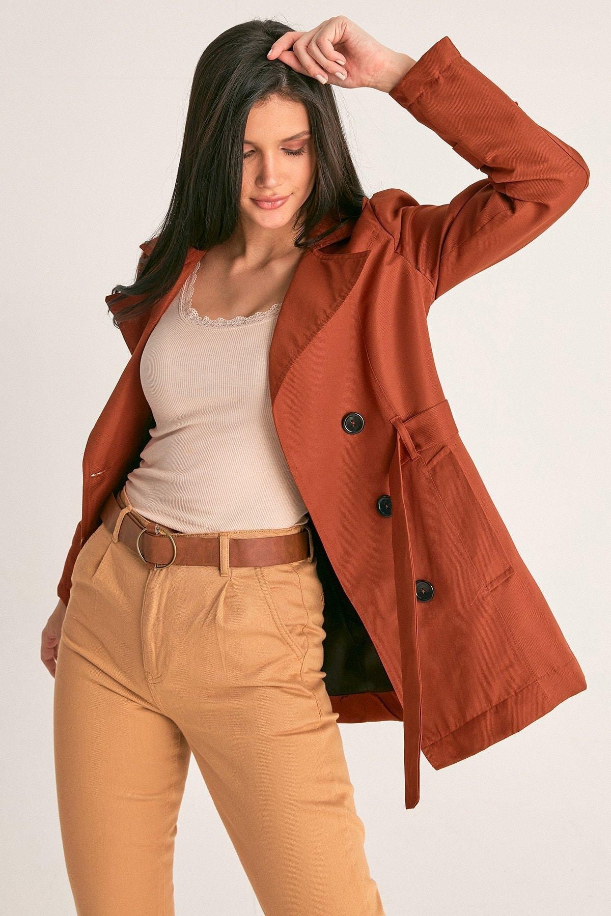 Fulla Moda Kadın Kiremit Basic Trençkot 1