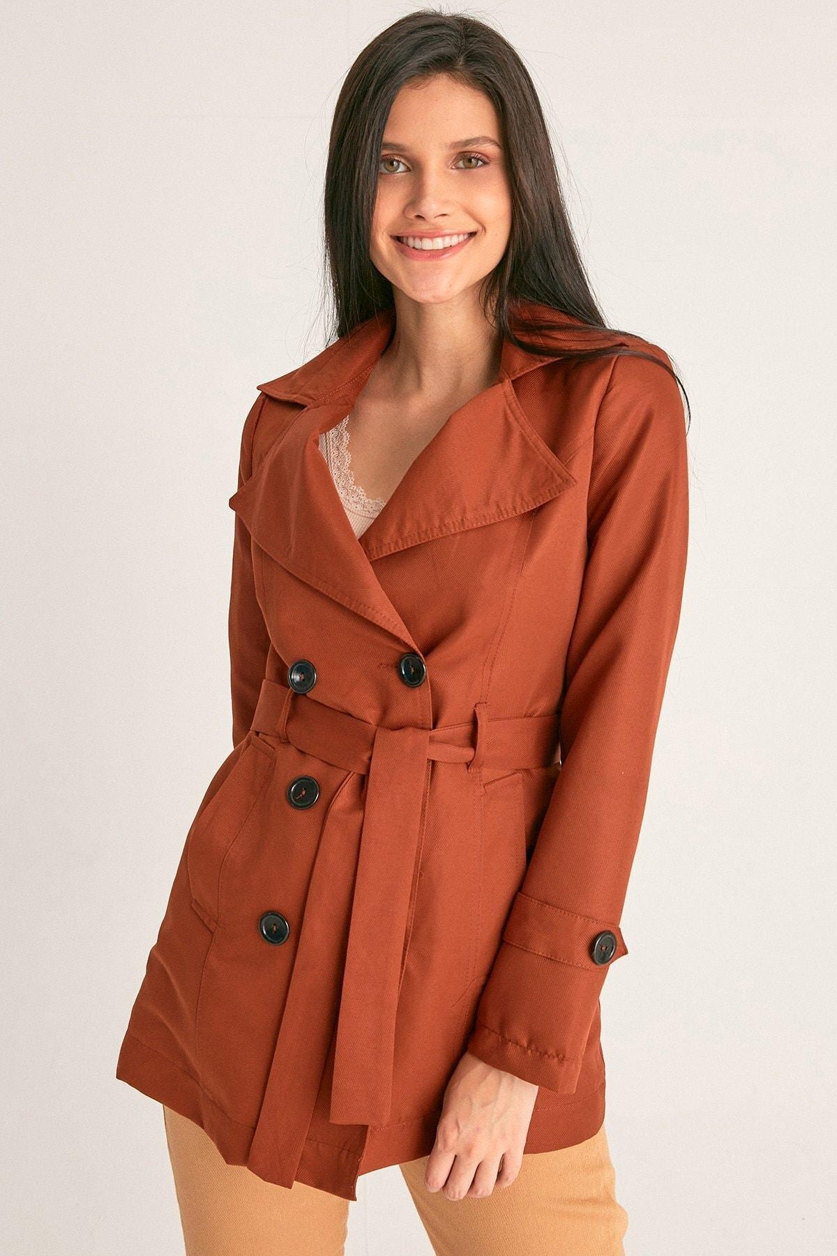 Fulla Moda Kadın Kiremit Basic Trençkot 2