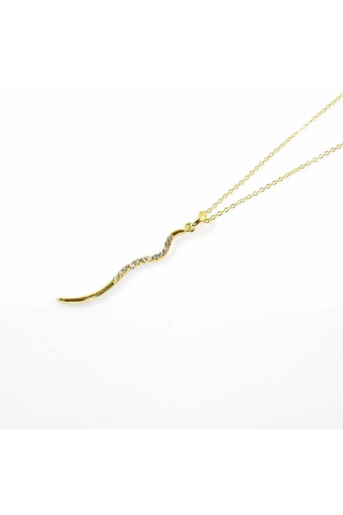 EUROMODA Yılan Tasarımlı Altın Renkli Zirkon Taşlı Zincirli Kolye 1