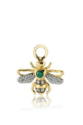 Valori Jewels Kraliçe Arı, Swarovski Zirkon Yeşil Ve Beyaz Taşlı, Altın Rengi Gümüş Küpe Charmı