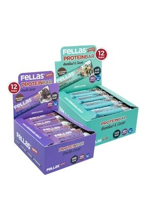 Fellas Protein Bar 32 G Süper Ikili Kutu 24 Adet - Duble Kakaolu X 12 Adet + Fındıklı X 12 Adet