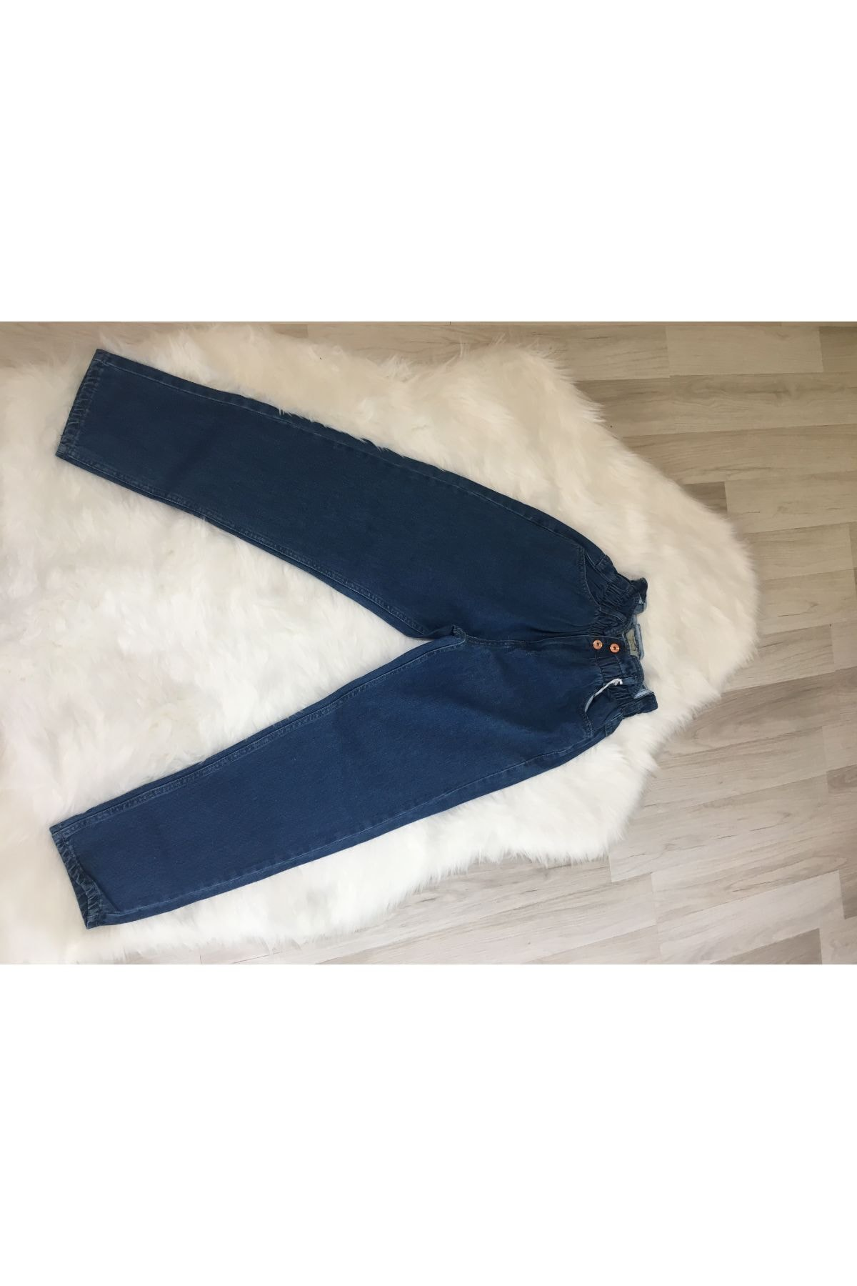 HACKER DENIM Beli Lastikli Mom Jeans Pantolon 2
