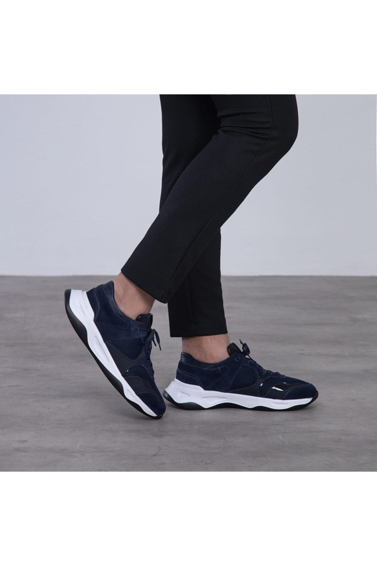 GEGARO G055 Lacivert File Detaylı Siyah Beyaz Eva Taban Hakiki Süet Deri Erkek Sneakers 2