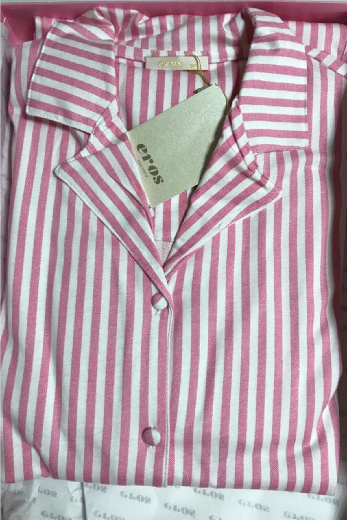 Eros Pijama %100 Pamuklu Önden Düğmeli Pembe Çizgili Kadın Pijama Takımı (özel Kutusunda) 2
