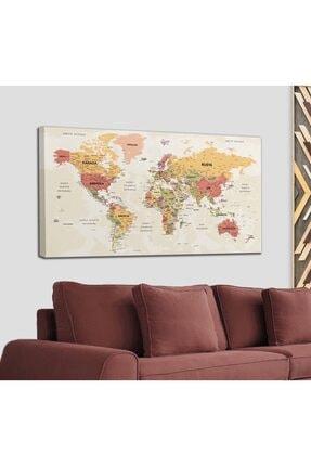 Harita Sepeti Türkçe Dünya Haritası Son Derece Ayrıntılı Eğitici-öğretici Okyanuslu Dekoratif Kanvas Tablo 2530