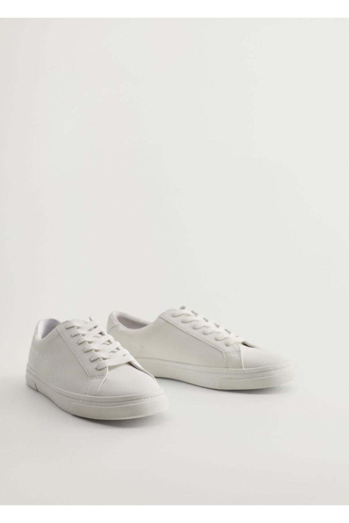 MANGO Woman Kadın Beyaz Bağcıklı Basic Spor Ayakkabı 77090550 2