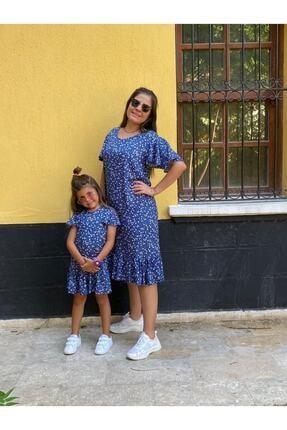EYLÜL ELİF BUTİK Kız Çocuk Mavi Pamuk Elbise