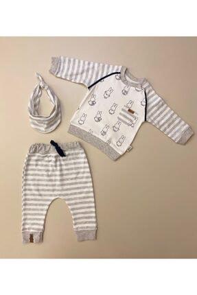 Flexi Unisex Bebek Beyaz Fular Detaylı 2'li Takım