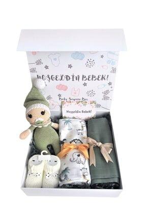 BabySurpriseBox Yeşil Hoşgeldin Bebek Uyku Arkadaşlı Hediye Kutusu