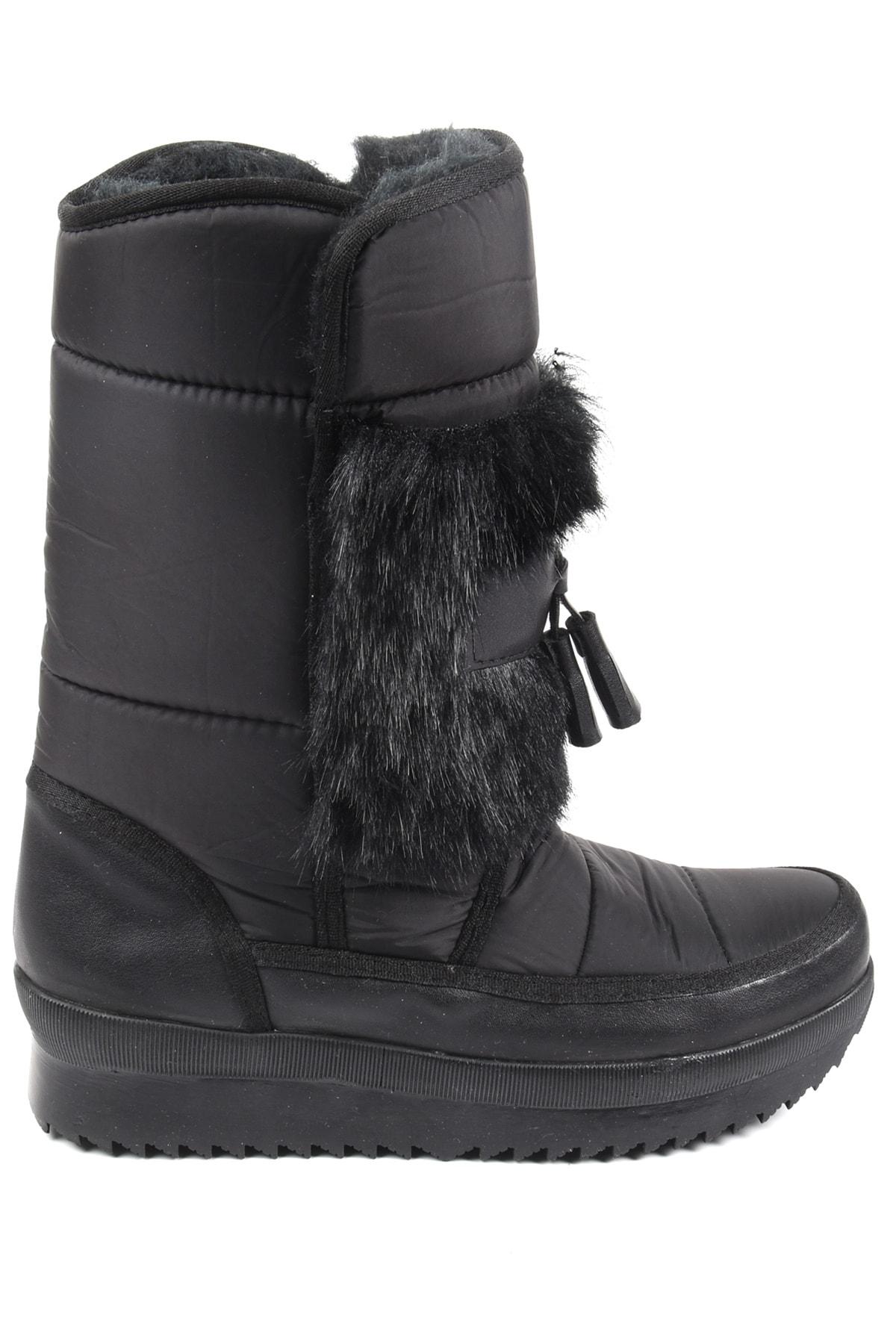 Sapin Kadın Siyah Suni Kürklü Kar Botu 37039 2