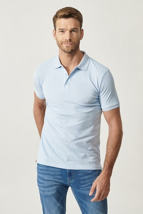 ALTINYILDIZ CLASSICS Erkek Açık Mavi Düğmeli Polo Yaka Cepsiz Slim Fit Dar Kesim Düz Tişört