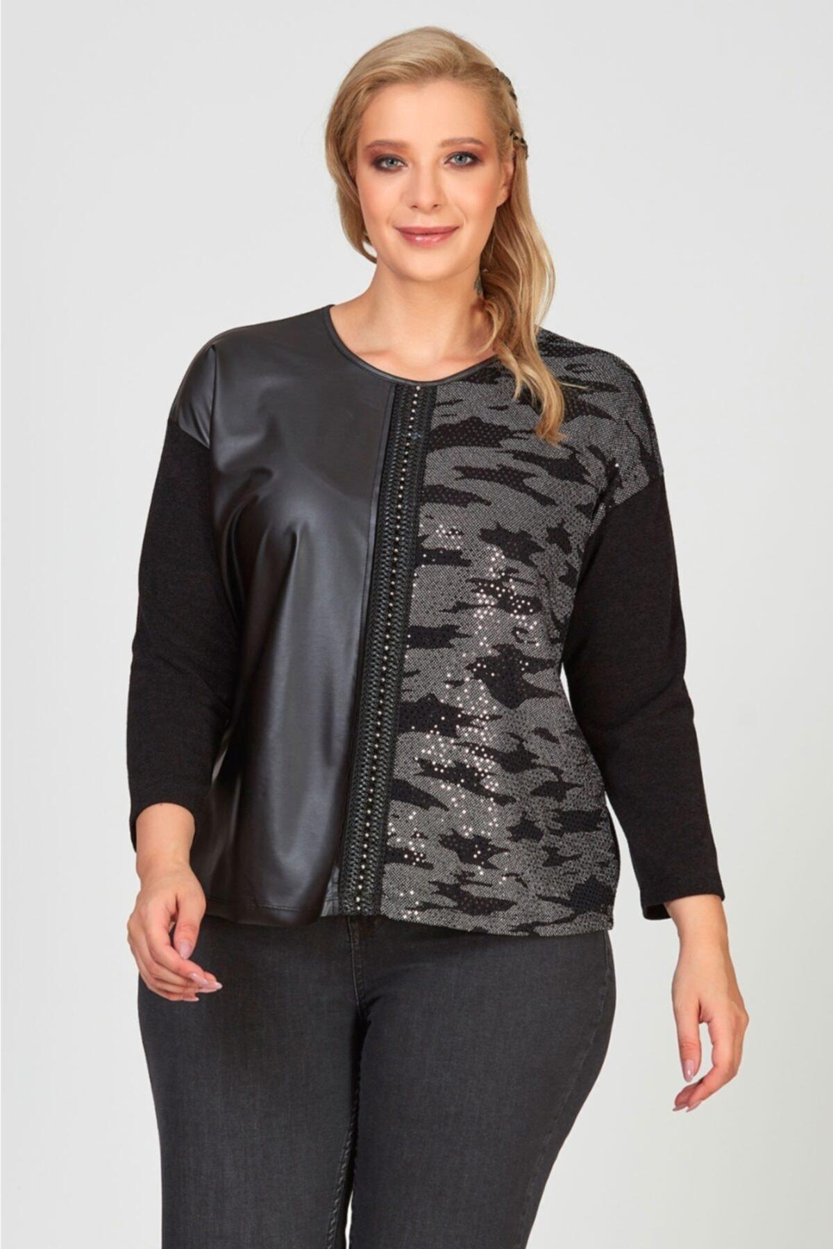 Femina Kadın Büyük Beden Gümüş Renk Deri Detaylı Payetli Leopar Bluz 1