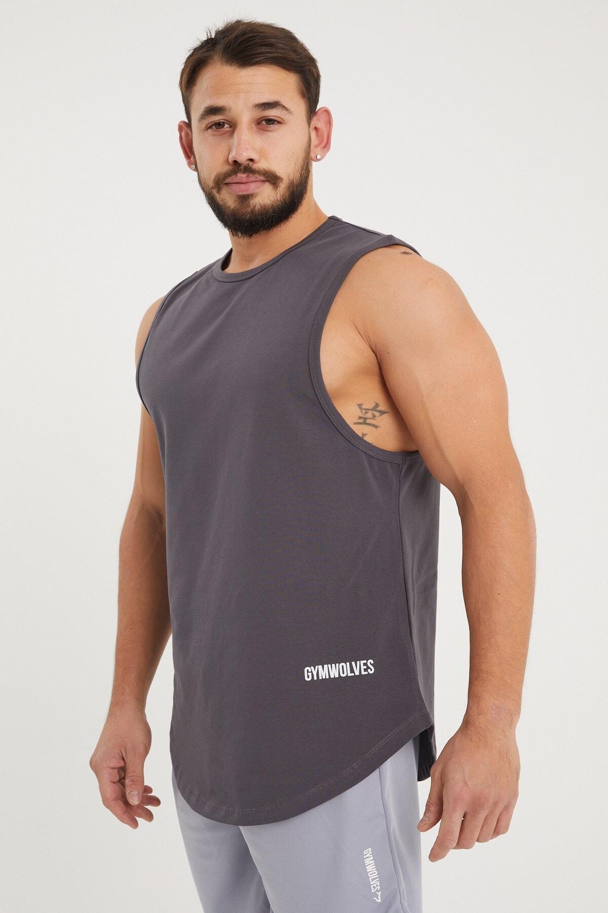 Gymwolves Erkek Kolsuz T-shirt | Füme | Erkek Spor T-shirt | Workout Tanktop | 1
