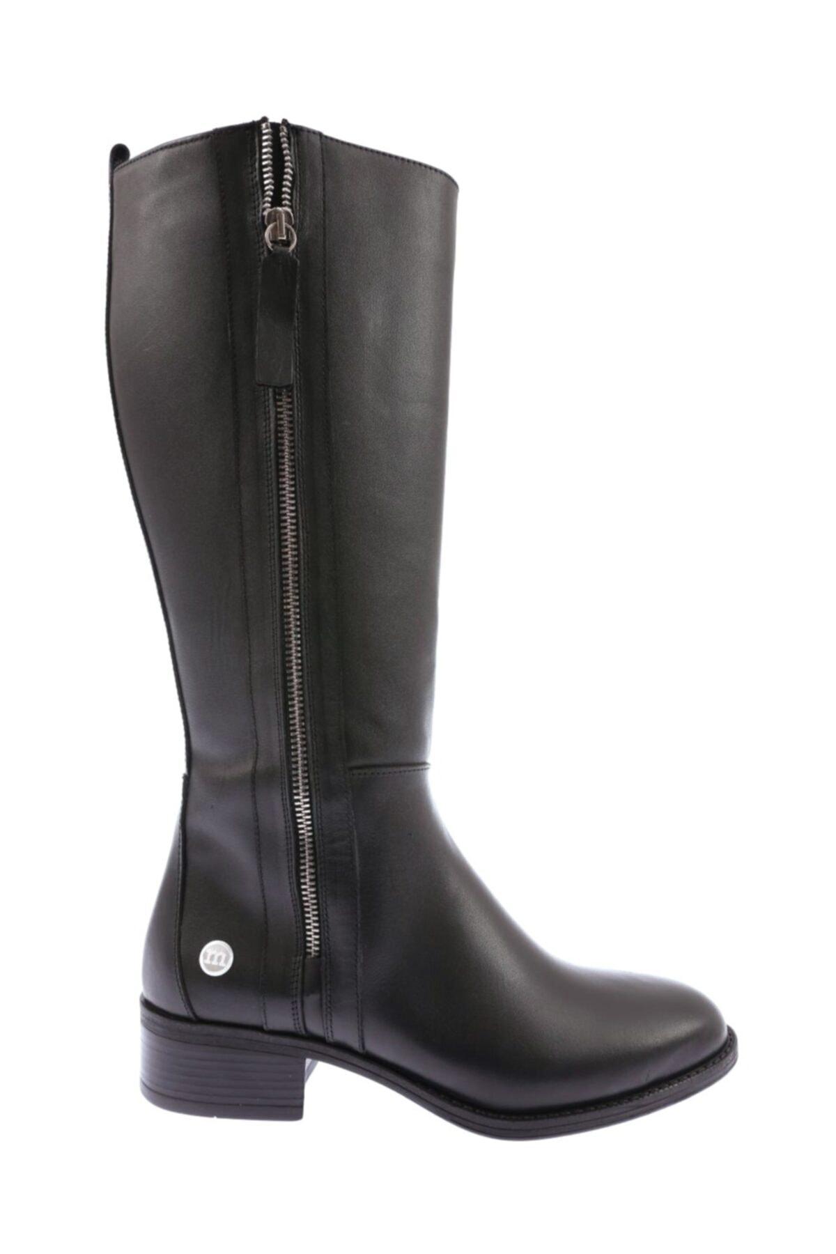 Mammamia D20kc-2000 Deri Kadın Çizme Siyah Faber 1