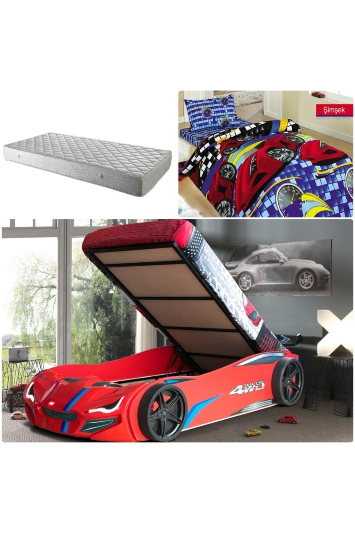 Setay Merso Eko Bazalı Rüzgarlıklı Arabalı Yatak Kırmızı Ortopedik Yatak Nevresim 2