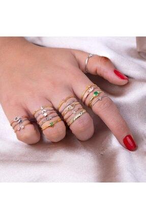 İncikcincik Kadın Gold Minimal Zircon Taşlı Üç Taş Yüzük