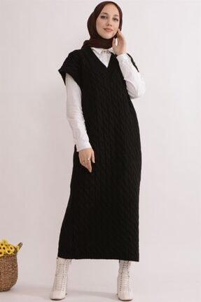 koçin butik Kadın Siyah Örgü Detay Oversıze Triko Tesettür  Süveter