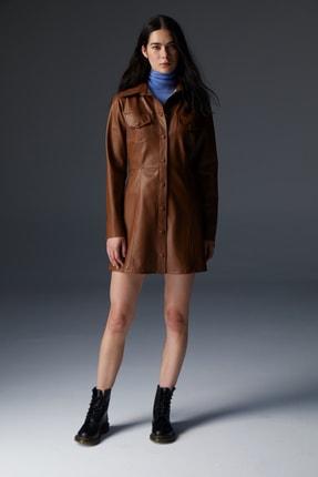 Urban Muse Kadın Taba  Vegan Deri Mini Elbise