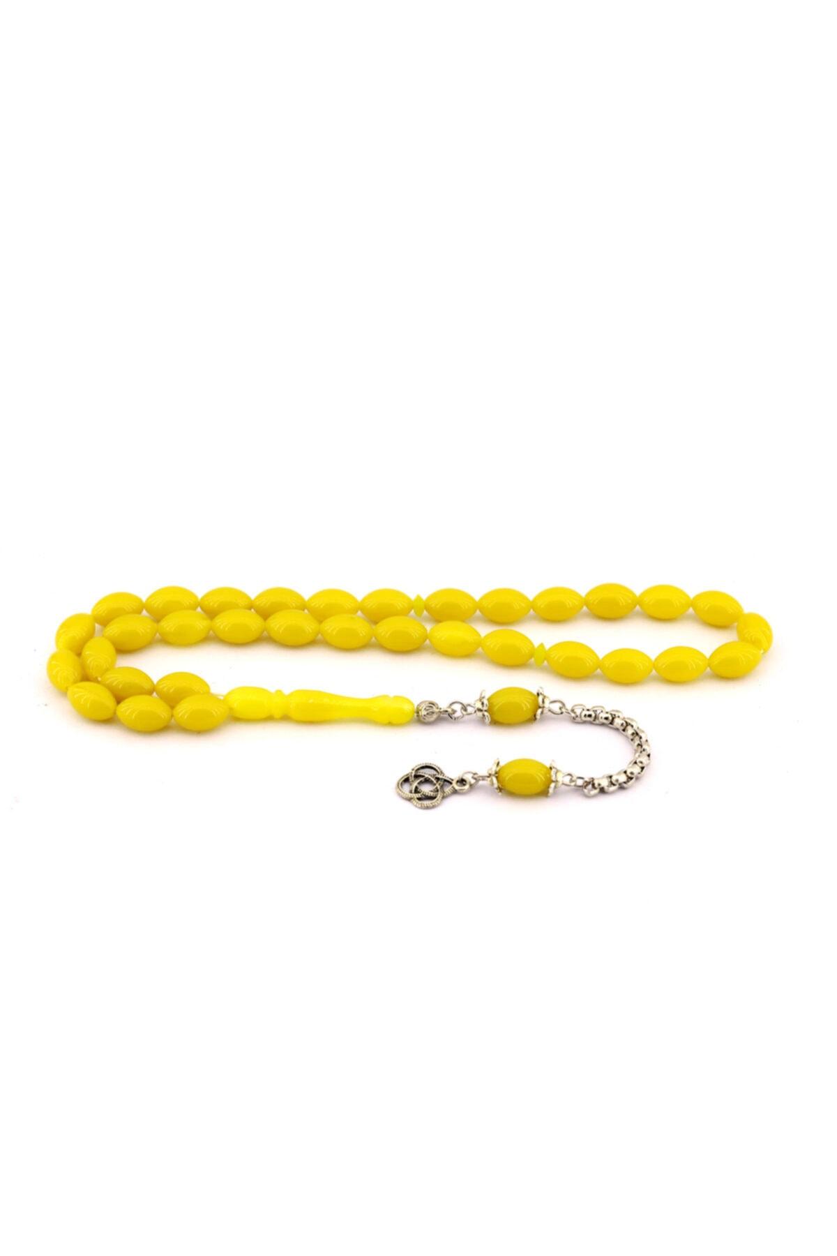 Midyat Azra Telkari Erkek Limon Sarısı Toz Kehribar Tesbih 1