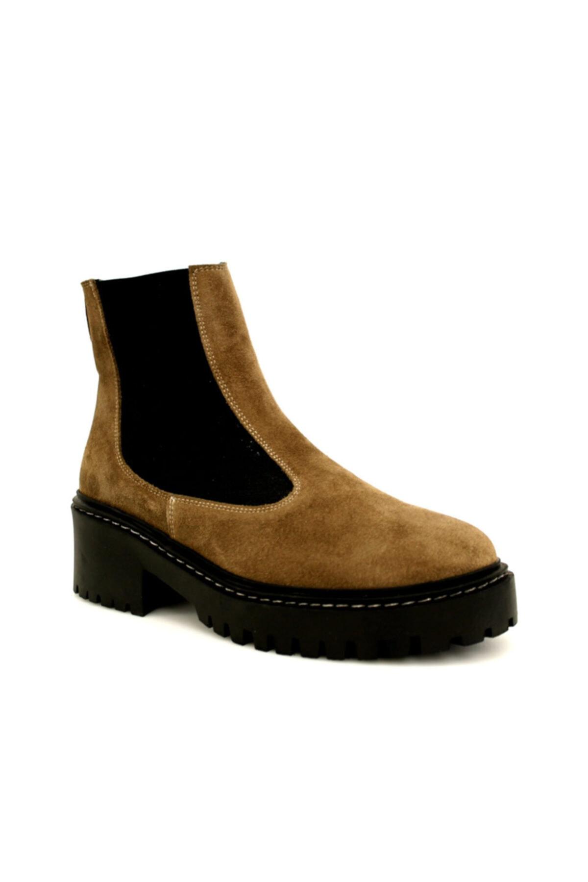Beta Shoes Kadın Hakiki Deri Bot Süet Vizon 1