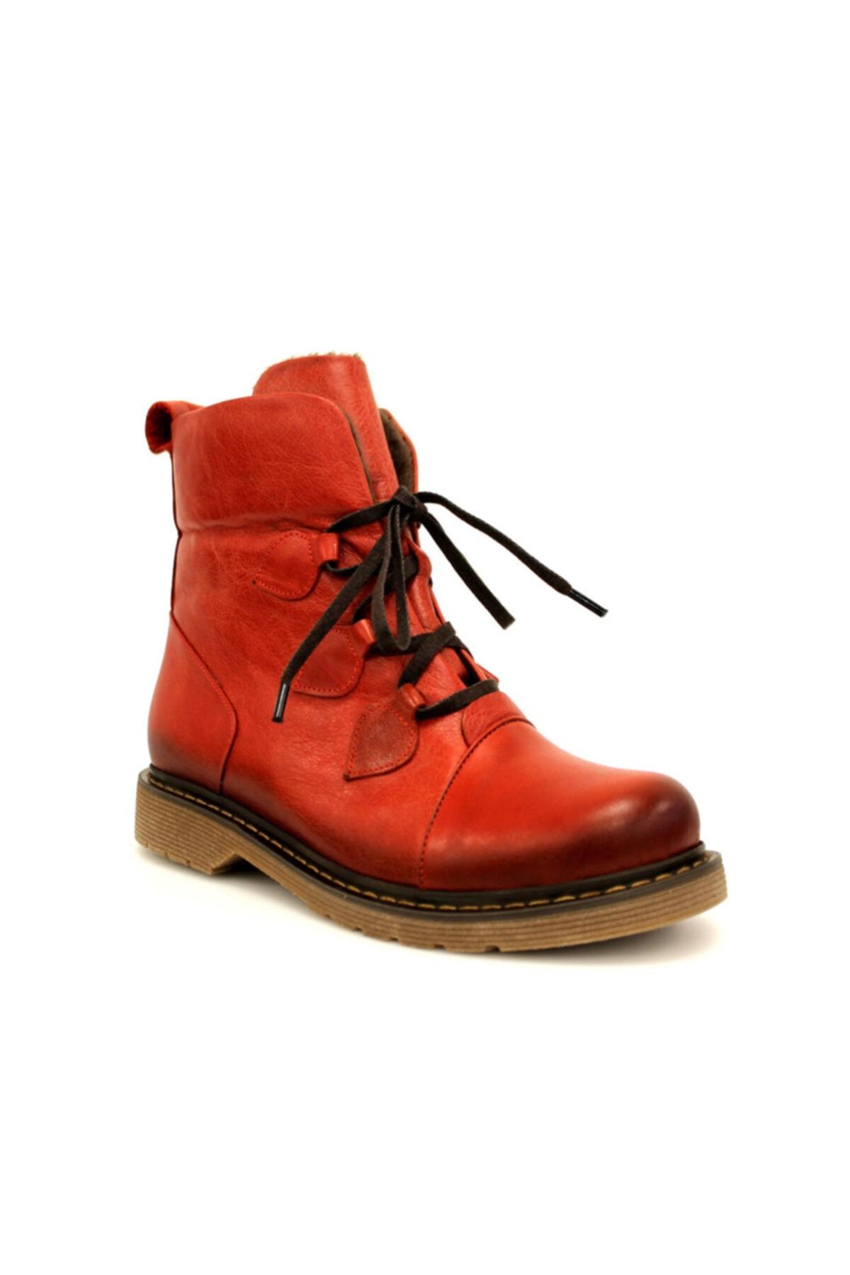 Beta Shoes Hakiki Deri Kadın Bot Kırmızı 1