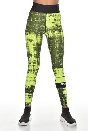 bilcee Neon Yeşil Kadın Yüksek Bel Toparlayıcı Spor Tayt Gw-9228