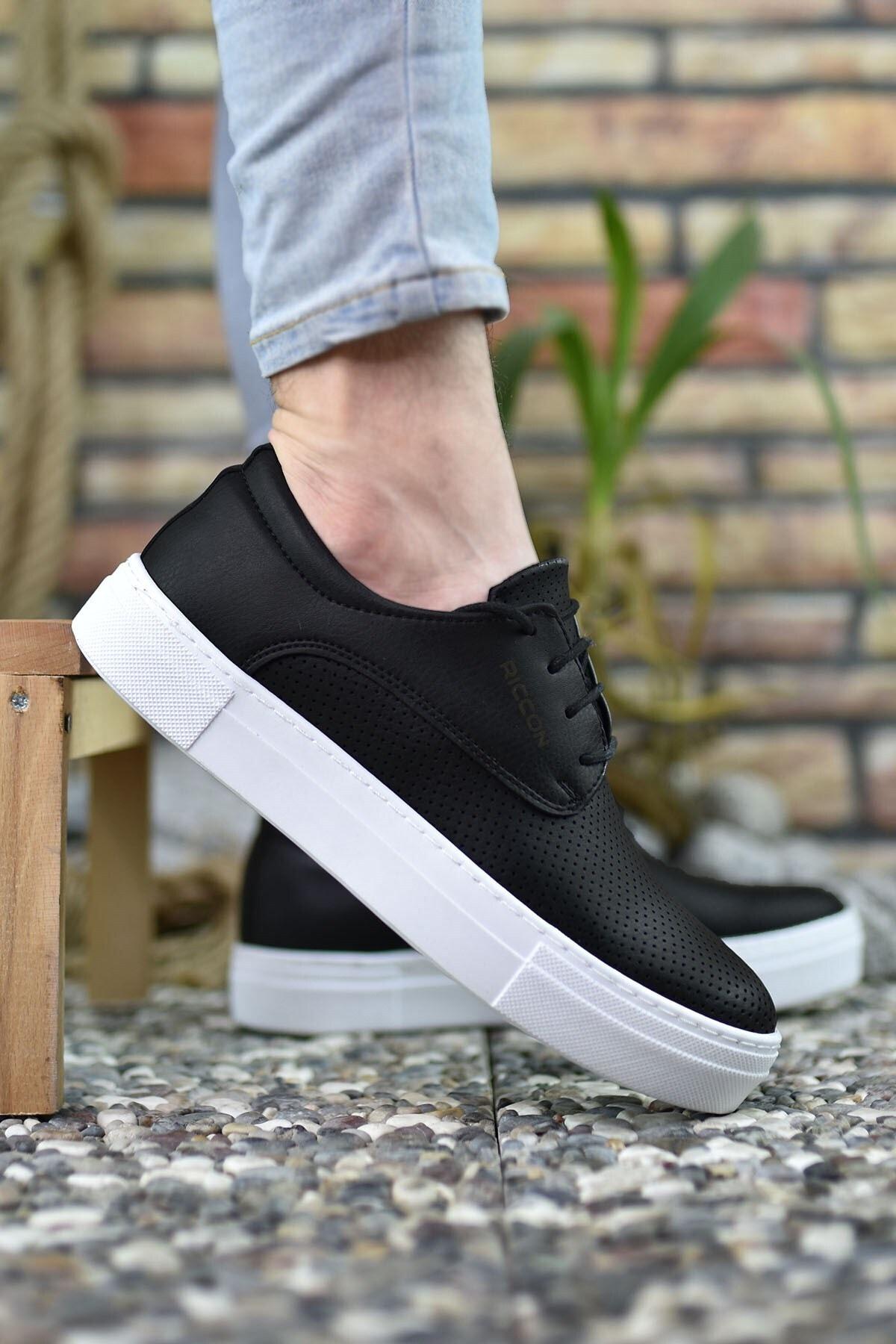 Riccon Baskılı Siyah Beyaz Erkek Sneaker 0012365 1