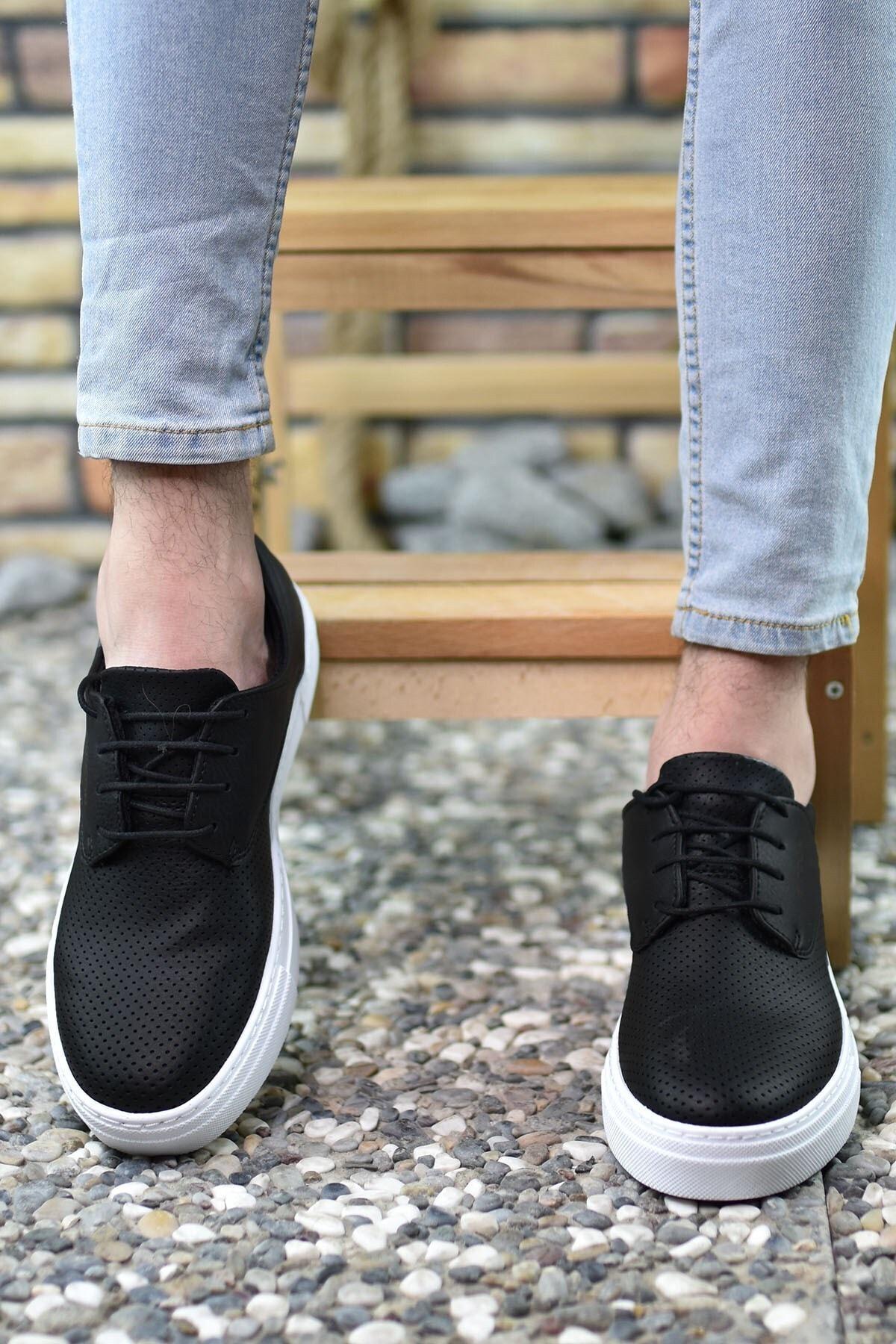 Riccon Baskılı Siyah Beyaz Erkek Sneaker 0012365 2