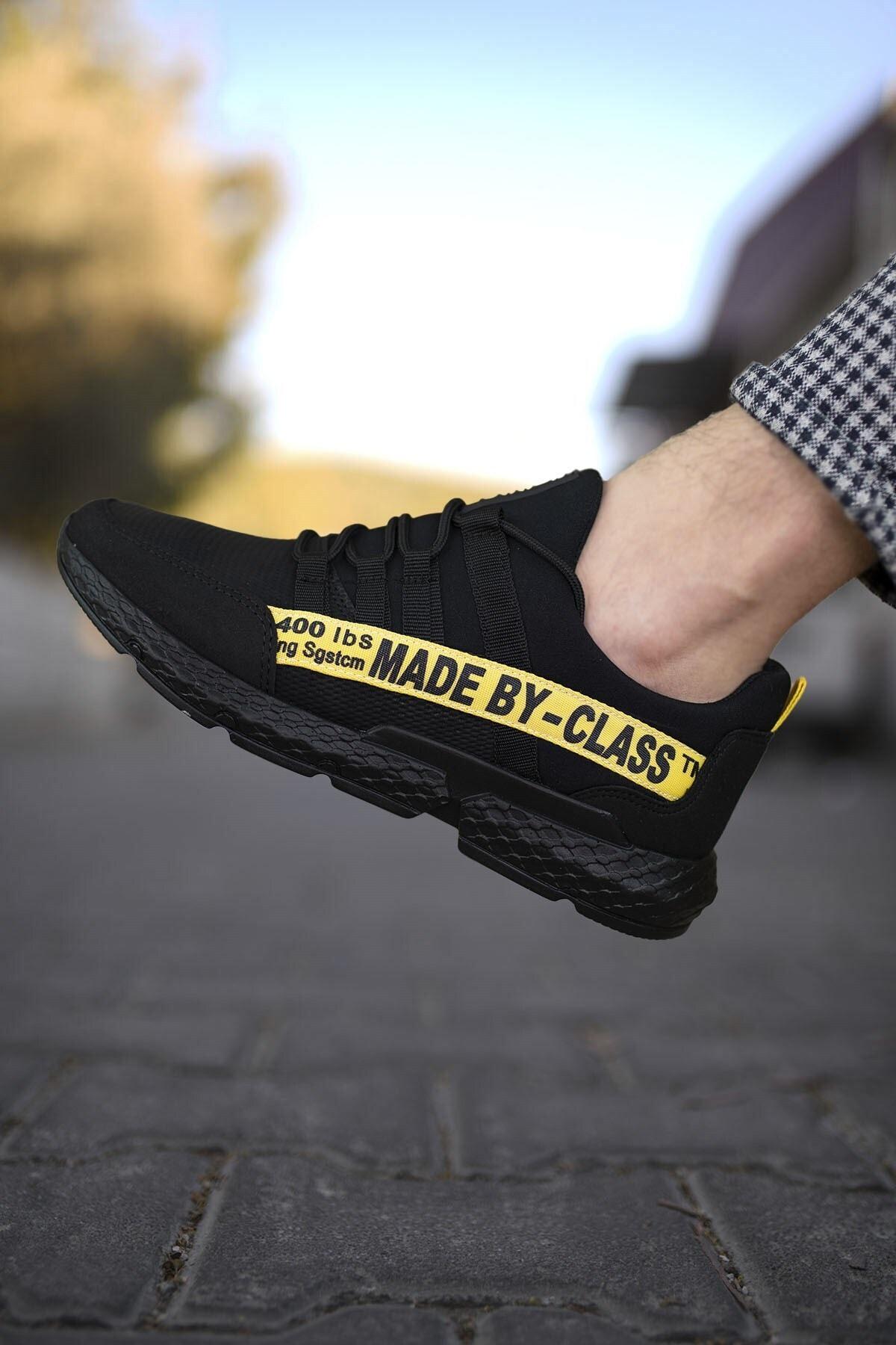 Riccon Siyah Sarı Erkek Cilt Sneaker 0012SANTO 1