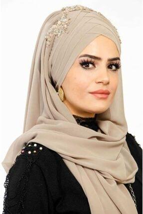 Aişe tesettür Kadın Bej Drapeli Hazır Şifon Şal