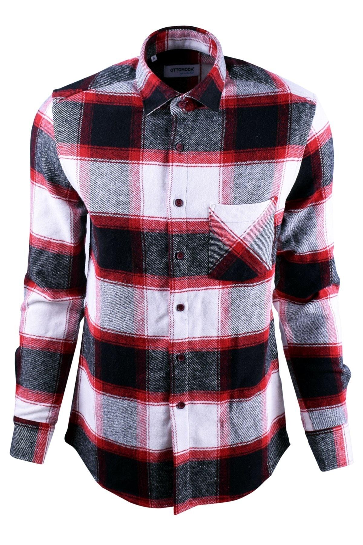 Ottomoda Beyaz Siyah Kırmızı Ekose Desenli Oduncu Gömlek 2