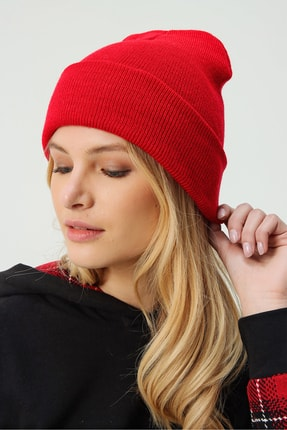 Trend Alaçatı Stili Kadın Kırmızı Basic Bere ALC-A2035