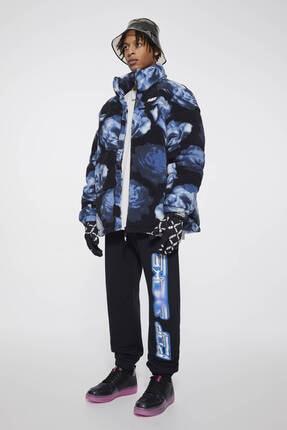 Pull & Bear Erkek Siyah Desenli Suni Yünlü Şişme Mont