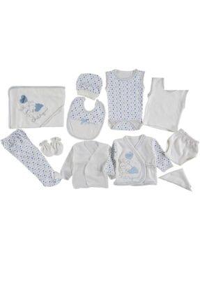 Bambino Erkek Bebek Mavi Chery Nakışlı 10'lu Hastane Çıkış Set
