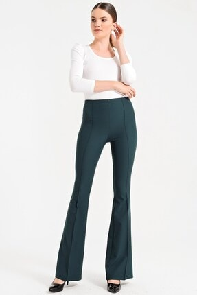 Jument Kadın Koyu Yeşil Dream Yüksek Bel Ön Arka Dikişli İspanyol Pantolon 2412