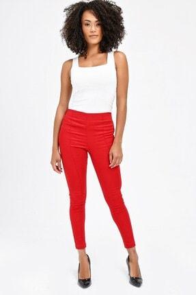 Jument Kadın Kırmızı Ön Arka Dikişli Dar Paça Tayt Pantolon 40004