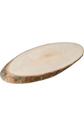 Trio 3 Adet Doğal Ahşap Sunum Dekoratif Kütük Doğal Ağaç Oval Tepsi Servis Sunum Kütüğü Tepsisi