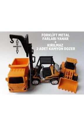OYUNCAKSAHİLİ Dozer Kepçe Kamyon Forklift 3 Adet Metal Ve Kırılmaz Oyuncaklar