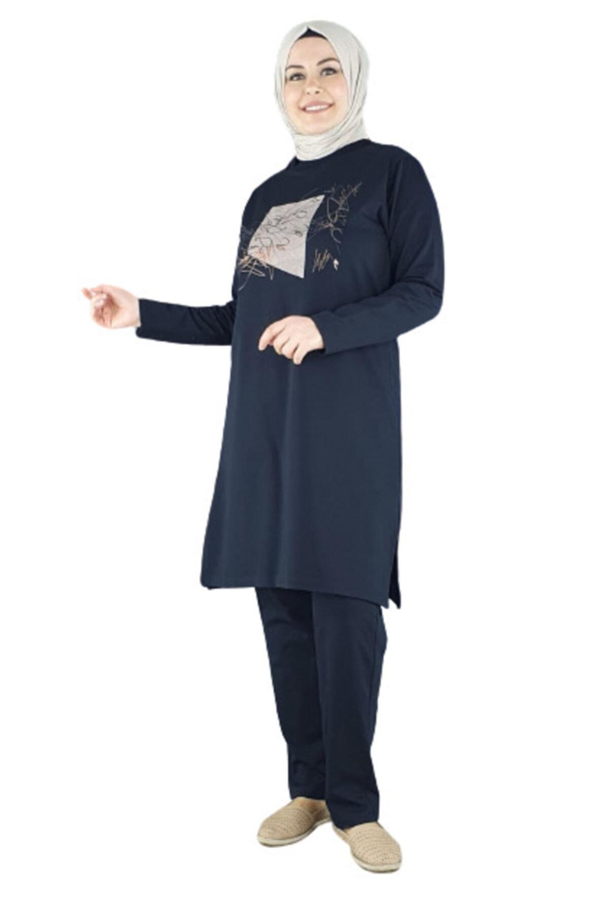 PYS Giyim Kadın Siyah Önü Baskılı Tesettür Takım 6303-50 2